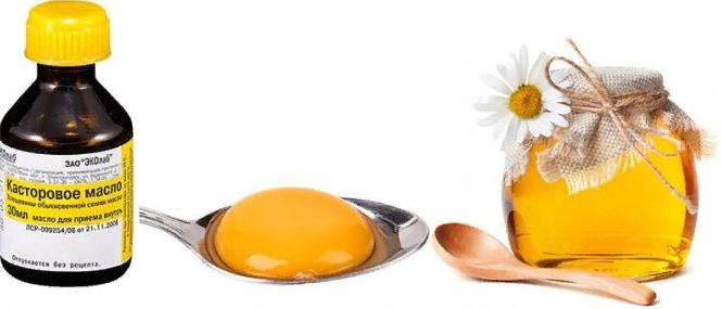Касторка, мед, яйцо
