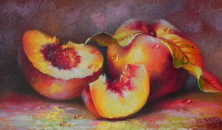 Персики акварель